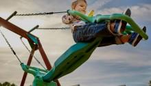 preschooler playing on playground