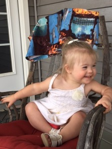 Amelia sitting in chair