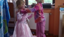 little girls playing dressup